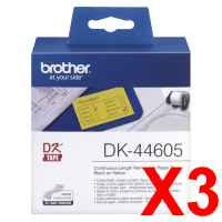 3 x Genuine Brother DK-44605 Yellow Removable Paper Tape Roll - 62mm x 30.48m - Continuous Length