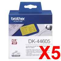 5 x Genuine Brother DK-44605 Yellow Removable Paper Tape Roll - 62mm x 30.48m - Continuous Length
