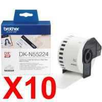 10 x Genuine Brother DK-N55224 White Non-Adhesive Paper Tape Roll - 54mm x 30.48m - Continuous Length