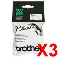 3 x Genuine Brother M-K221 9mm Black on White Plastic M Tape 8 metres