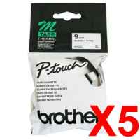 5 x Genuine Brother M-K221 9mm Black on White Plastic M Tape 8 metres