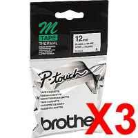 3 x Genuine Brother M-K231 12mm Black on White PlasticM Tape 8 metres