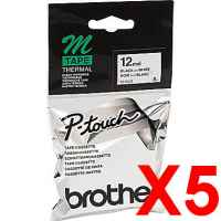 5 x Genuine Brother M-K231 12mm Black on White Plastic M Tape 8 metres