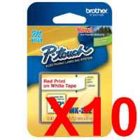 10 x Genuine Brother M-K232 12mm Red on White PlasticM Tape 8 metres