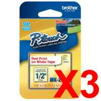 3 x Genuine Brother M-K232 12mm Red on White PlasticM Tape 8 metres