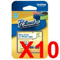 10 x Genuine Brother M-K233 12mm Blue on White Plastic M Tape 8 metres