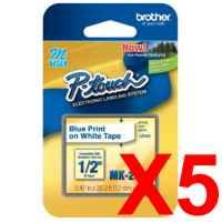 5 x Genuine Brother M-K233 12mm Blue on White PlasticM Tape 8 metres