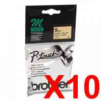 10 x Genuine Brother M-K621 9mm Black on Yellow Plastic M Tape 8 metres