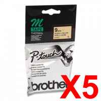 5 x Genuine Brother M-K621 9mm Black on Yellow Plastic M Tape 8 metres