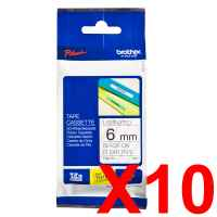 10 x Genuine Brother TZe-111 6mm Black on Clear Laminated Tape 8 metres
