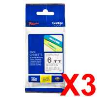 3 x Genuine Brother TZe-111 6mm Black on Clear Laminated Tape 8 metres