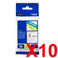 10 x Genuine Brother TZe-121 9mm Black on Clear Laminated Tape 8 metres