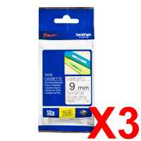 3 x Genuine Brother TZe-121 9mm Black on Clear Laminated Tape 8 metres
