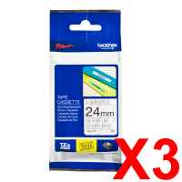 3 x Genuine Brother TZe-151 24mm Black on Clear Laminated Tape 8 metres