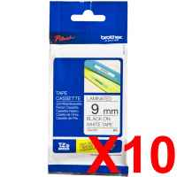 10 x Genuine Brother TZe-221 9mm Black on White Laminated Tape 8 metres