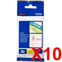 10 x Genuine Brother TZe-222 9mm Red on White Laminated Tape 8 metres