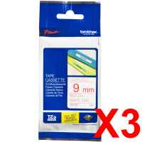 3 x Genuine Brother TZe-222 9mm Red on White Laminated Tape 8 metres
