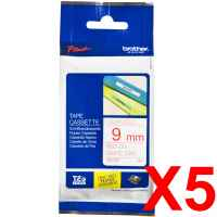 5 x Genuine Brother TZe-222 9mm Red on White Laminated Tape 8 metres