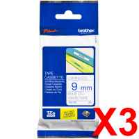 3 x Genuine Brother TZe-223 9mm Blue on White Laminated Tape 8 metres