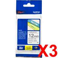 3 x Genuine Brother TZe-231 12mm Black on White Laminated Tape 8 metres