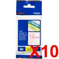 10 x Genuine Brother TZe-232 12mm Red on White Laminated Tape 8 metres