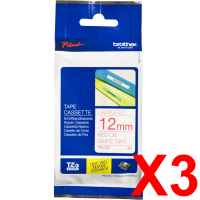 3 x Genuine Brother TZe-232 12mm Red on White Laminated Tape 8 metres