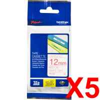 5 x Genuine Brother TZe-232 12mm Red on White Laminated Tape 8 metres