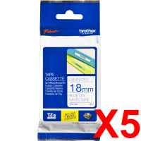 5 x Genuine Brother TZe-243 18mm Blue on White Laminated Tape 8 metres