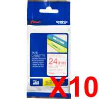 10 x Genuine Brother TZe-252 24mm Red on White Laminated Tape 8 metres