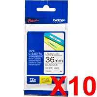 10 x Genuine Brother TZe-261 36mm Black on White Laminated Tape 8 metres