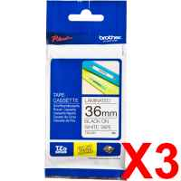 3 x Genuine Brother TZe-261 36mm Black on White Laminated Tape 8 metres