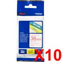 10 x Genuine Brother TZe-262 36mm Red on White Laminated Tape 8 metres