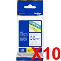 10 x Genuine Brother TZe-263 36mm Blue on White Laminated Tape 8 metres