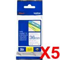 5 x Genuine Brother TZe-263 36mm Blue on White Laminated Tape 8 metres