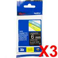 3 x Genuine Brother TZe-315 6mm White on Black Laminated Tape 8 metres