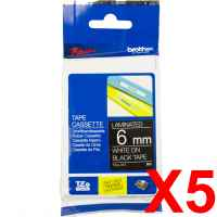 5 x Genuine Brother TZe-315 6mm White on Black Laminated Tape 8 metres