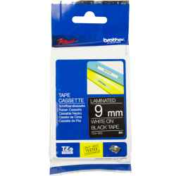 Brother P-Touch TZ325 TZe-325 9mm White on Black Laminated Tape