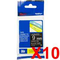 10 x Genuine Brother TZe-325 9mm White on Black Laminated Tape 8 metres