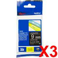 3 x Genuine Brother TZe-325 9mm White on Black Laminated Tape 8 metres