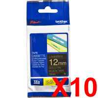 10 x Genuine Brother TZe-334 12mm Gold on Black Laminated Tape 8 metres