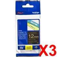 3 x Genuine Brother TZe-334 12mm Gold on Black Laminated Tape 8 metres