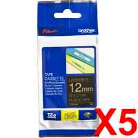 5 x Genuine Brother TZe-334 12mm Gold on Black Laminated Tape 8 metres
