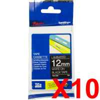 10 x Genuine Brother TZe-335 12mm White on Black Laminated Tape 8 metres
