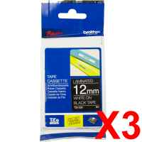 3 x Genuine Brother TZe-335 12mm White on Black Laminated Tape 8 metres