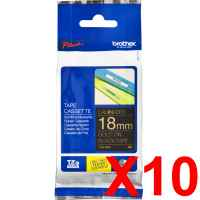 10 x Genuine Brother TZe-344 18mm Gold on Black Laminated Tape 8 metres
