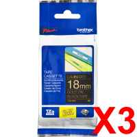 3 x Genuine Brother TZe-344 18mm Gold on Black Laminated Tape 8 metres