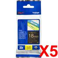 5 x Genuine Brother TZe-344 18mm Gold on Black Laminated Tape 8 metres