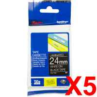 5 x Genuine Brother TZe-355 24mm White on Black Laminated Tape 8 metres