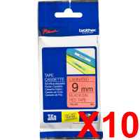 10 x Genuine Brother TZe-421 9mm Black on Red Laminated Tape 8 metres