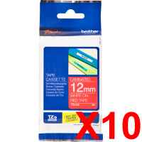 10 x Genuine Brother TZe-435 12mm White on Red Laminated Tape 8 metres